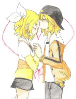 rin and len, juvenille by marya-chan
