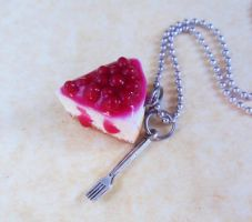polymer clay cherry cheesecake necklace by ScrumptiousDoodle