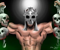 Triple H Skullking Drawing by AllenThomasArtist