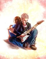 a girl, the boy she loves, and his guitar by Kataoi