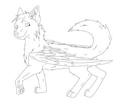free winged wolf lineart by true-crystalwolf