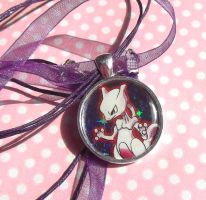 Mewtwo Holographic Pokemon card necklace by KawaiiKave
