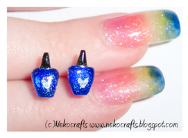 nail polish stud earrings by neko-crafts