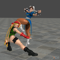 Chun-Li and Cammy SFXT Intro Pose (Enhanced) by MichiFreddy35