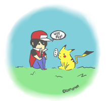 Trainer Red and Pikachu by natsumixdaxninja