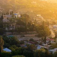 Town in a morning glow by mannromann