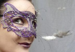 Cat masquerade mask by gringrimaceandsqueak