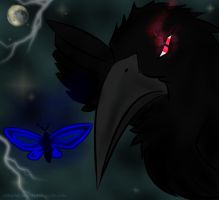 The Crow chasses the Butterfly by CrimsonFange