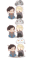 Chibi Drarry - Rainclouds by Cremebunny