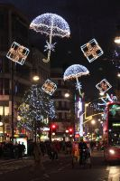 Christmas lights in Oxford street, London by kupenska