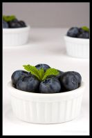 Blueberries and mint by AlexCphoto