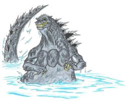 Godzilla at sea. by ChaosGhidorah