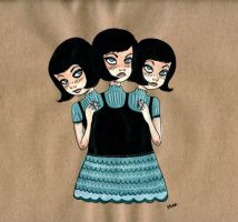 Triamese Twins by jokneeappleseed