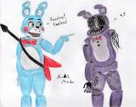 Toy Bonnie and faceless Old Bonnie by Sophia62134