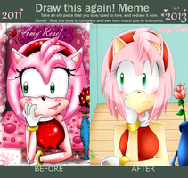 Draw this again Meme: Amy Rose by LiaMenietowLove