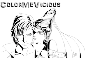 Dante and Bayonetta [UNCOLORED] by ColorMeVicious