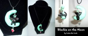 Blackie on the Moon Necklace by TashaAkaTachi