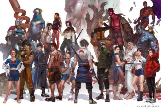 Comics characters assemble by inhyuklee