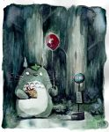 Totoro is waiting for the bus by MathildeAndre