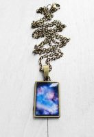 Handmade Resin Blue and Purple Galaxy Necklace by crystaland
