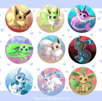 Eeveelution Buttons Set [Shiny Version] by Kastraz