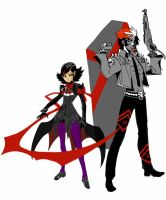 Ambiguously Goth Duo WIP by Arcturion