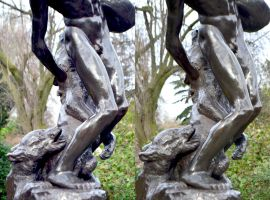 Holland Park Grut Carrier Fending Off Dogs, Detail by aegiandyad