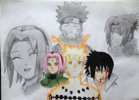 Team 7 - then and now (from Naruto) by Lena1406