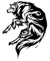 Circle wolf tattoo by Onalew