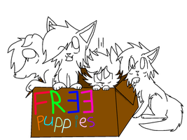 Free Puppies Lineart by Ponywolf111