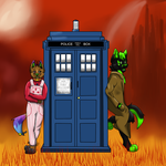 The doctor, the tardis and his companion. by SexyCavallone