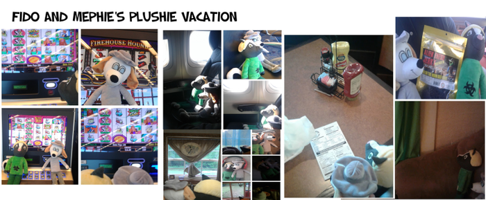 Fido and Mephie's plushie vacation by FidoArtz