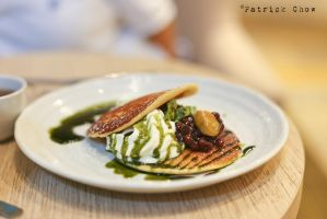 Green tea pancakes by patchow