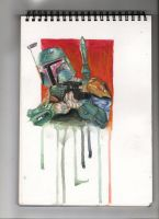 Boba Fett Water colour by AdamBrownART