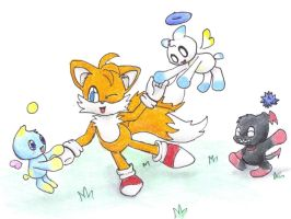 Tails playing with the chao. by KosenWing