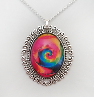Rainbow Swirl Fractal Pendant by HoneyCatJewelry