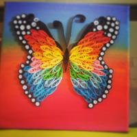Butterfly(Painting+Quilling) by TheFabulousPotato