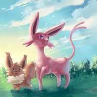 Morning sun - Espeon and Eevee by EvilQueenie
