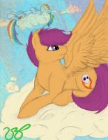 Scoot-Scoot-Scootaloo -Color- by RoseminttheNeko