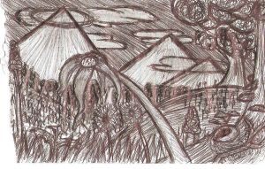 Flower and Mountain Scenery scetch by super-fat-man