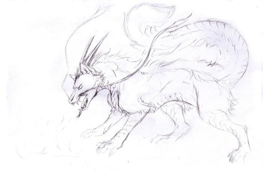 Sketch Request - Dragon Wolf by Jianre-M