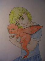 Little Wales with her dragon by KururuRyu