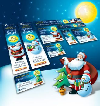 Santa Claus and Friends Christmas Web Banner Set by PVillage
