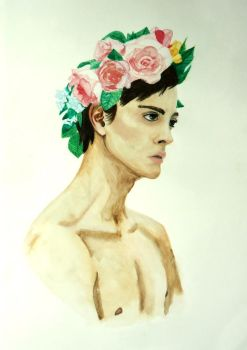 Young man with flower crown by AmyWasp