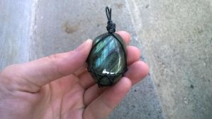 Leather Wrapped Labradorite Pendant SOLD by impish-midna