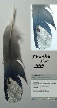 Thanks for 555 - feather paint by Tora-Shiroi