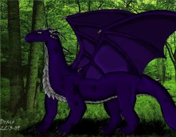 Dragon in forest by Dracothesilverdragon