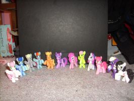all the mini ponies I have + customs by MissLuckychan29