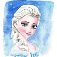 Frozen: Elsa Watercolor Painting by nadineconrad