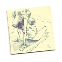 sunbath post-it by joslin